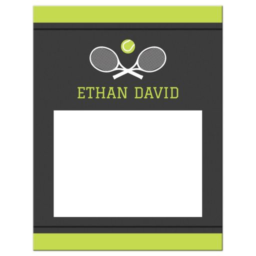 Modern Tennis Bar Mitzvah Thank You card with rackets and tennis ball