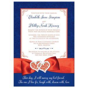 Wedding Invitation - PHOTO Optional | Royal Blue, White, Orange Floral | PRINTED Ribbon, Double Hearts