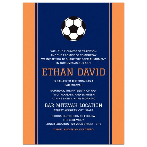 Soccer Bar Mitzvah Invitation Navy Blue and Orange with Soccer Ball
