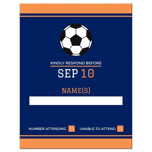 Soccer Bar Mitzvah RSVP Card Navy Blue and Orange with Soccer Ball