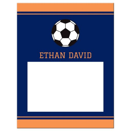 Soccer Bar Mitzvah Thank You Card Navy Blue and Orange with Soccer Ball