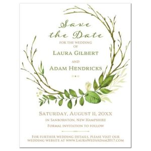 Greenery Foliage Wedding Save the Date Card | Watercolor Leaves, Stems, Boughs, Wreath