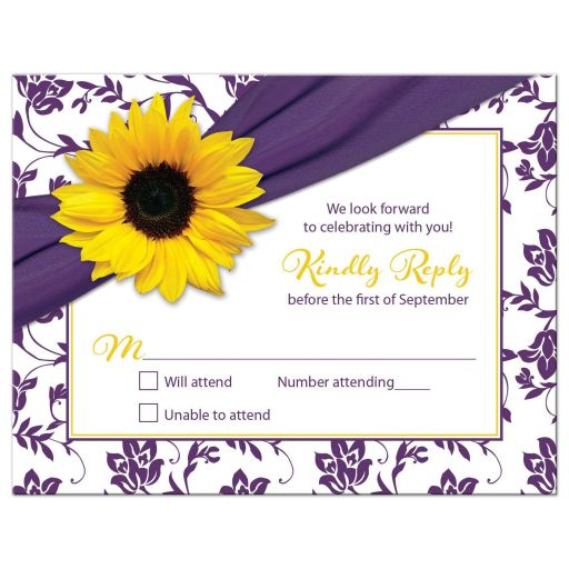 purple yellow sunflower bat mitzvah rsvp card