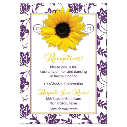 purple yellow sunflower bat mitzvah reception card