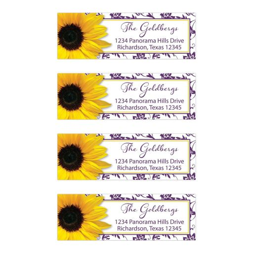 purple yellow sunflower bat mitzvah address labels