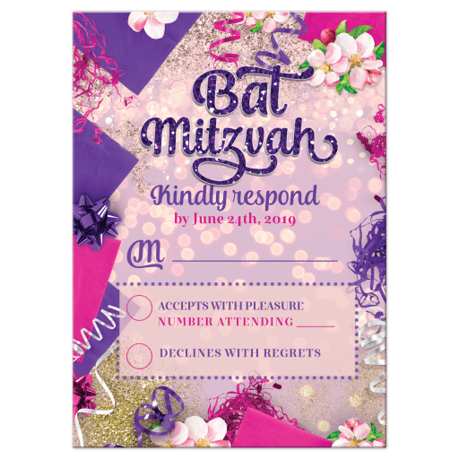 Party balloons decor pink purple Bat Mitzvah rsvp card