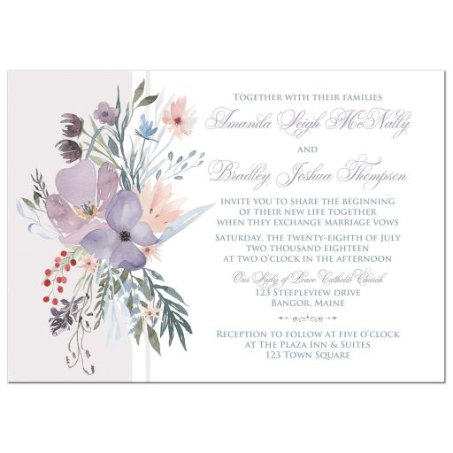 purple and blue bohemian wildflower wedding invitation