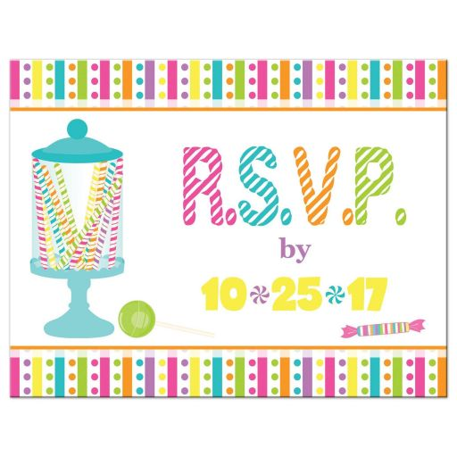 Candyland Candy Themed Bat Mitzvah Rsvp Card