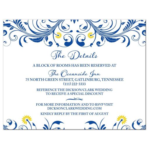 royal blue yellow floral wedding details card
