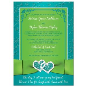 Turquoise, Lime Floral Wedding Invitation with Printed Ribbon, Bow, Glitter, Jeweled Hearts