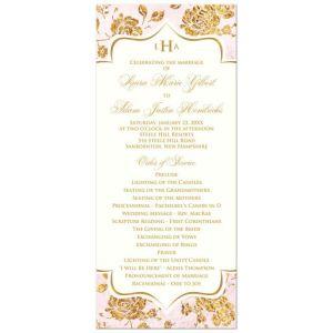 Vintage Floral Monogrammed Wedding Program | Ivory, Blush Pink, Gold Leaf (FAUX) | Damask