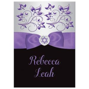 Chic Bat Mitzvah Invitation | Black, Purple, Silver Floral | PRINTED GLITTER, RIBBON, JEWELS | Jewish Star