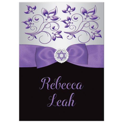 purple, silver, and black ribbon and jewel Bat Mitzvah Invitation