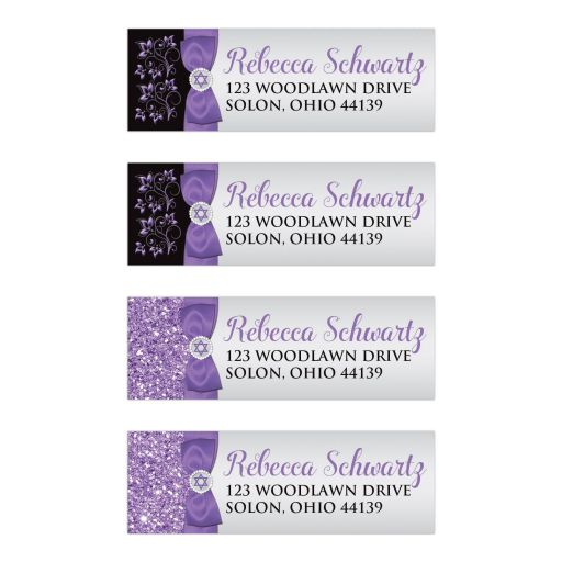 purple, silver, and black ribbon and jewel Bat Mitzvah mailing address labels