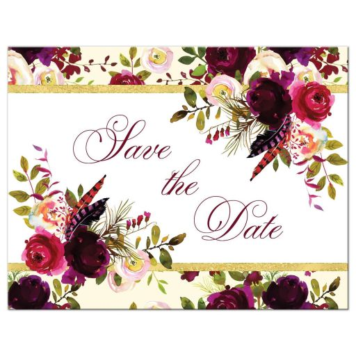 burgundy floral and feathers wedding save the date card