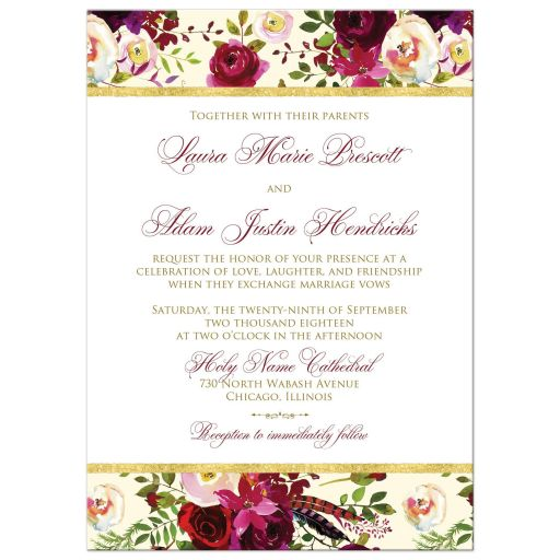 burgundy floral and feathers wedding invitation