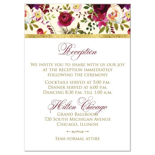 burgundy floral and feathers wedding reception insert card