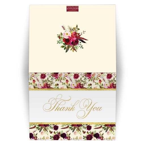 burgundy floral and feathers wedding thank you card