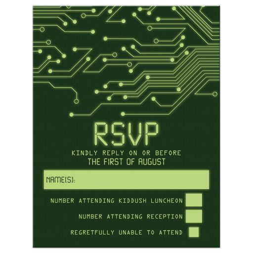 High tech computer circuit board Bar Mitzvah RSVP Card