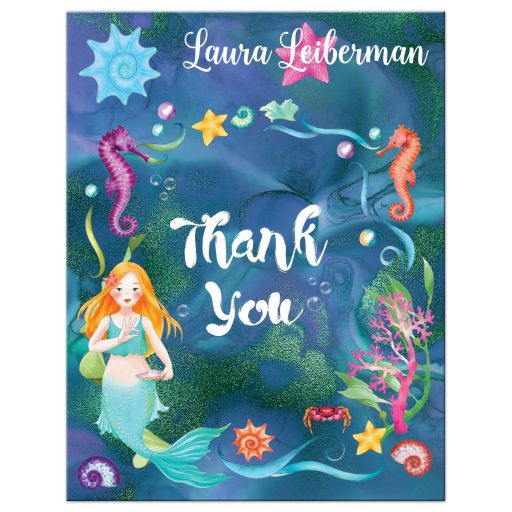 Under the Sea Mermaid Bat Mitzvah Thank You Cards Flat