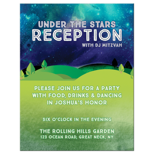 Outdoors Under the Stars Mitzvah Reception Card