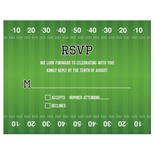 Brown green American football Bar Mitzvah RSVP card