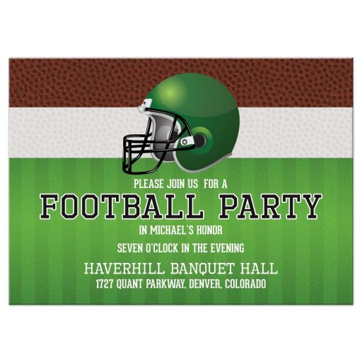 Brown green American football Bar Mitzvah Reception insert card