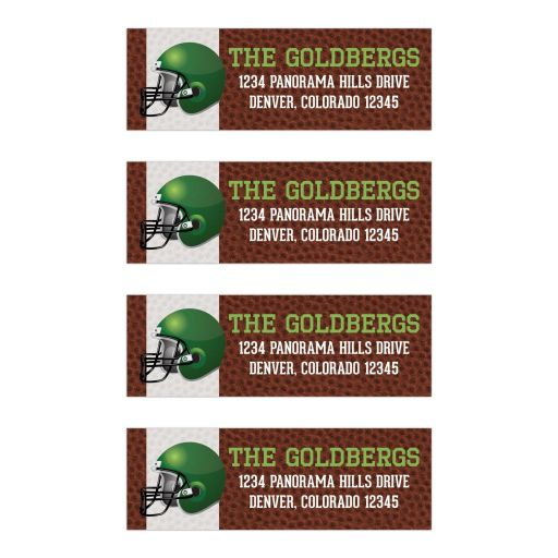 Brown green American football Bar Mitzvah return address labels