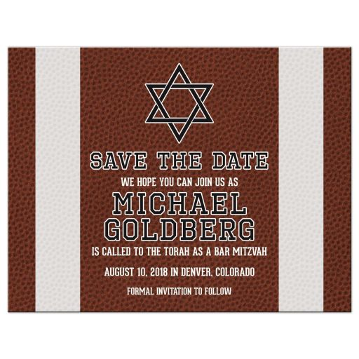 Brown green American football Bar Mitzvah save the date postcard