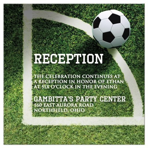 Soccer Ball on Field Bar or Bat Mitzvah Reception Invitation