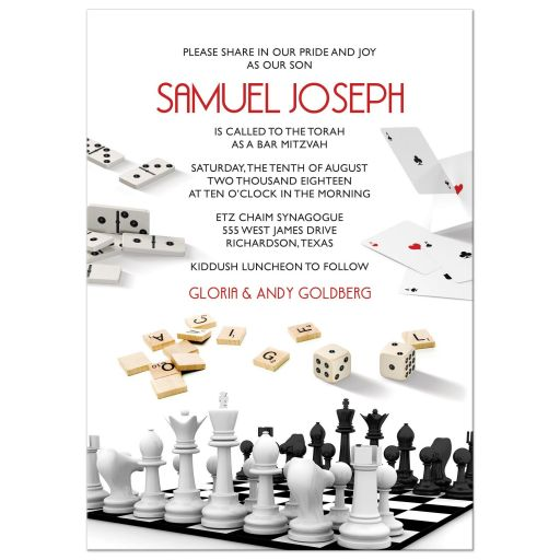 Chess dominoes cards dice scrabble board game Bar Mitzvah invitation