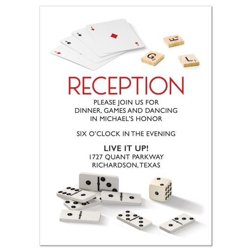 Dominoes cards dice scrabble board game Bar Mitzvah Reception insert card