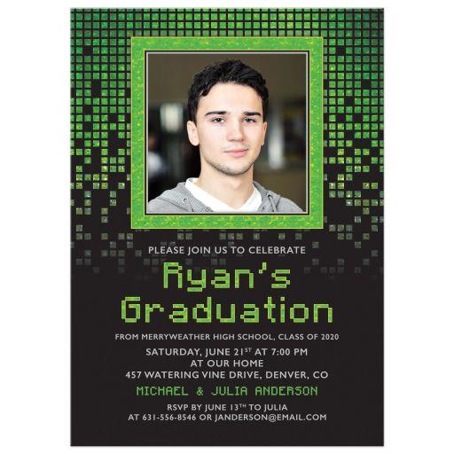 Computer Pixel Gamer Photo Graduation Invitation