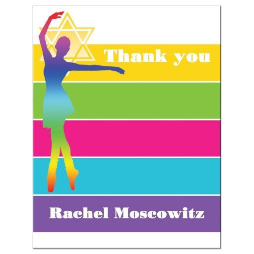 Modern Dancer, Dance Neon Striped Bat Mitzvah Thank You Note