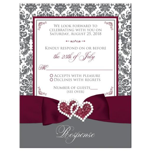 Burgundy Gray White Joined Hearts Jewel Damask Ribbon Wedding RSVP Card