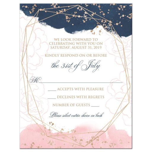 Blush Pink Navy White Geometric Watercolor Wedding RSVP Card