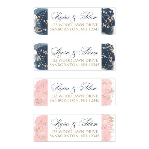 Blush Pink Navy White Geometric Watercolor Wedding Address Labels