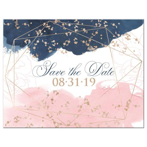 Blush Pink Navy White Geometric Watercolor Wedding Save the Date Card