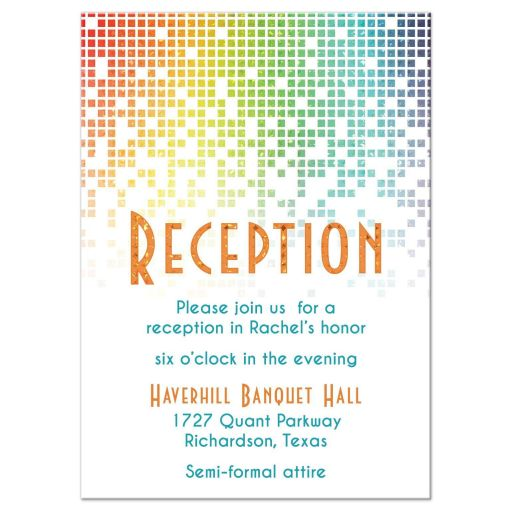 Rainbow Bat Mitzvah Reception Card Cascading Pixels