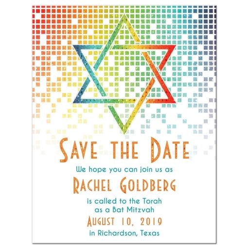 Rainbow Bat Mitzvah Save the Date Card Cascading Pixels Star of David