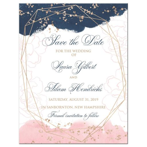 Blush Pink Navy White Geometric Watercolor Wedding Photo Save the Date Card