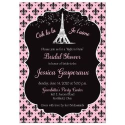 Night in Paris Eiffel Tower Parisian Bridal Shower Invitation