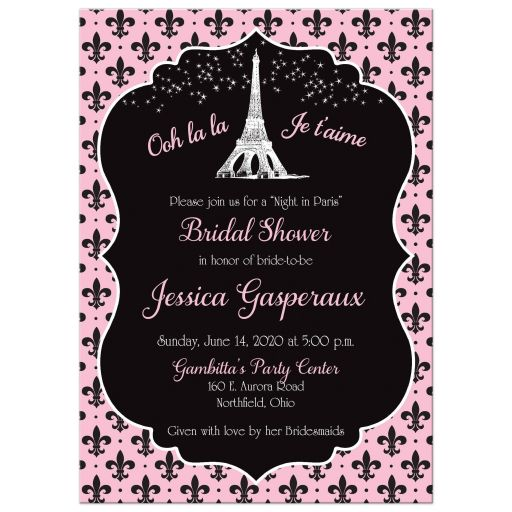 night in paris eiffel tower bridal shower invitation