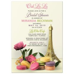 Paris Eiffel Tower Macarons Peonies Bridal Shower Invitation