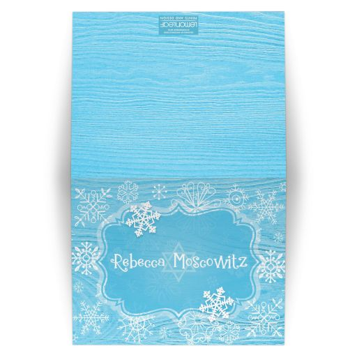 Blue white whimsical snowflake winter Bat Mitzvah thank you card - folded card