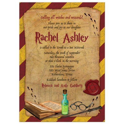 Harry Potter School of Magic Inspired Mitzvah Invitation