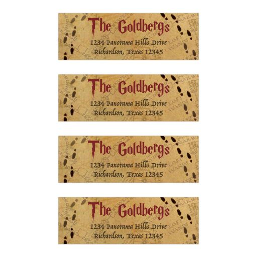 Harry Potter School of Magic Inspired Mitzvah Address Labels