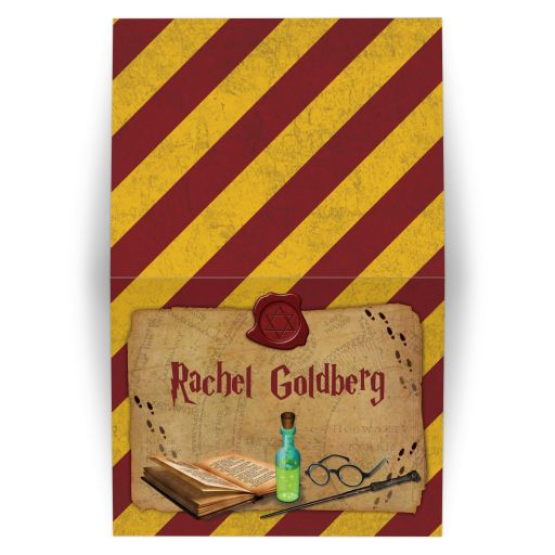 Harry Potter School of Magic Inspired Mitzvah Personalized Folded Thank You Card