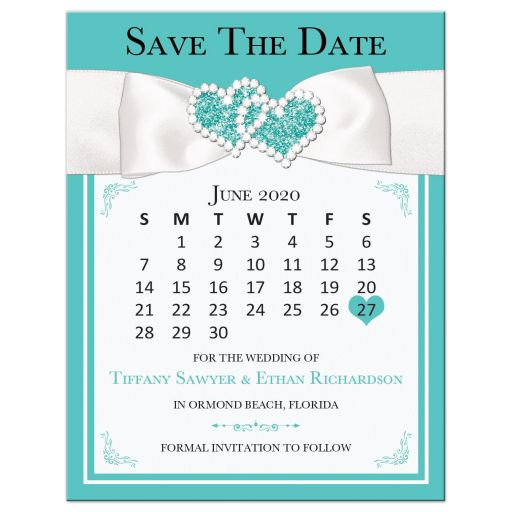Tiffany blue white ribbon jewels save the date card