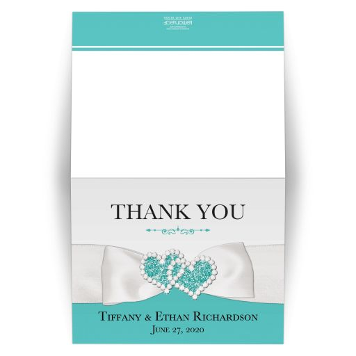 Tiffany blue white ribbon jewels personalized wedding thank you card folded